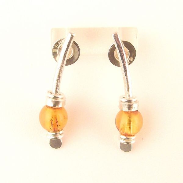 Amber earrings sterling silver small curved arc shape
